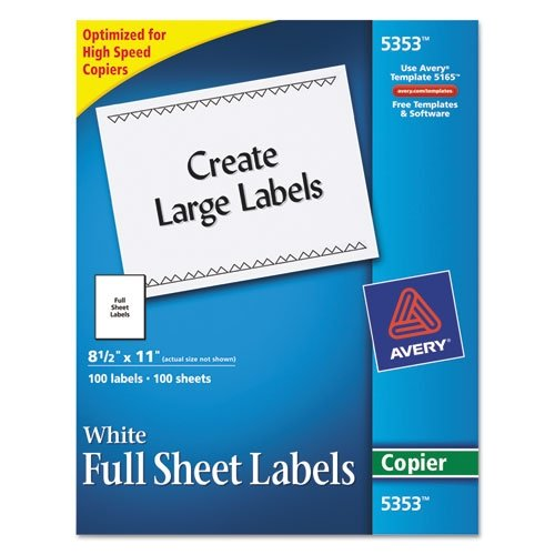 Avery : Self-Adhesive Full-Sheet Shipping Labels for Copiers, 8-1/2 x 11, White, 100/Box -:- Sold as 1 BX