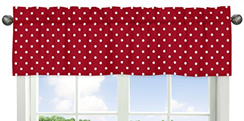 Sweet Jojo Designs Polka Dot Window Valance for Red and White Ladybug Collection ()