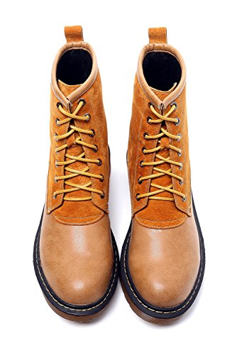 Minotta Women's Fashion Oxdords Soles Anti-Skid Lace up Stitching Sport Ankle Combat Booties Brown dpPRLz
