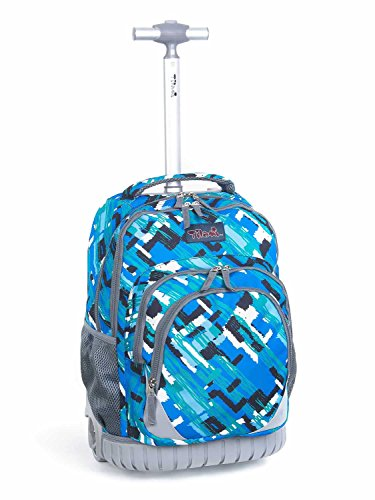 Backpack Rolling Wheels (Tilami New Antifouling Design 18 Inch Oversized Load Multi-Compartment Wheeled Rolling Backpack Luggage for Kids … (Blue Canvas))