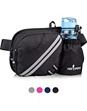 KEESPENCE Hiking Fanny Pack, Waist Bag with Water Bottle Holder for Men Women Outdoors Walking Running, Dog Fanny Pack, Fit iPhone 8 Plus/XS Max/ 6.5'' Large Smartphones