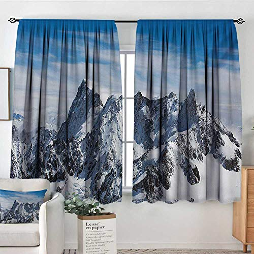 - Elliot Dorothy Sheer Curtains Landscape,Picturesque Mont Blanc Cliff to Clouds Idyllic Environment Trekking Landmark,White Blue,Decor Collection Thermal/Room Darkening Window Curtains 52