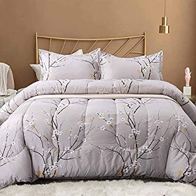 NANKO Queen Comforter Set 3pc, Reversible Down Alternative Microfiber Bedding Comforters - Tan Gray Plum Blossom Flower/Floral All Season Duvet and 2 Pillowshams Bed Sets for Women, Size 88 x 90 - The Spring Bloom Pattern 3pc comforter set includes 1 duvet insert or stand-along comforter (88 x 90 inches) and 2 matching pillow shams (20 x 26 inches) Elegant Design - Vintage and fresh, great for your bedding décor. You may also use this comforter set for guest room or as a gift for family members or friends to present your good taste. It is cute bedding set for men or women. Soft & Fluffy - All season comforter with down alternative filling, lightweight and fluffy. Fabrics is made of 100% luxury brushed microfiber, giving you exceptionally soft and silky feeling. Our breathable comforter will ensure you a cozy sleep throughout the night, cool in the summer, comfortable in the spring and fall, and even warm in the winter in southern area. Durable & Stain-resistant - Our unique S-shaped box quilting and solid stitching for the comforter largely improve its durability, well preventing bunching. The quality bedding is also stain resistant, fade resistant and wrinkle resistant. - comforter-sets, bedroom-sheets-comforters, bedroom - 51CVcSmDtEL. SS400  -