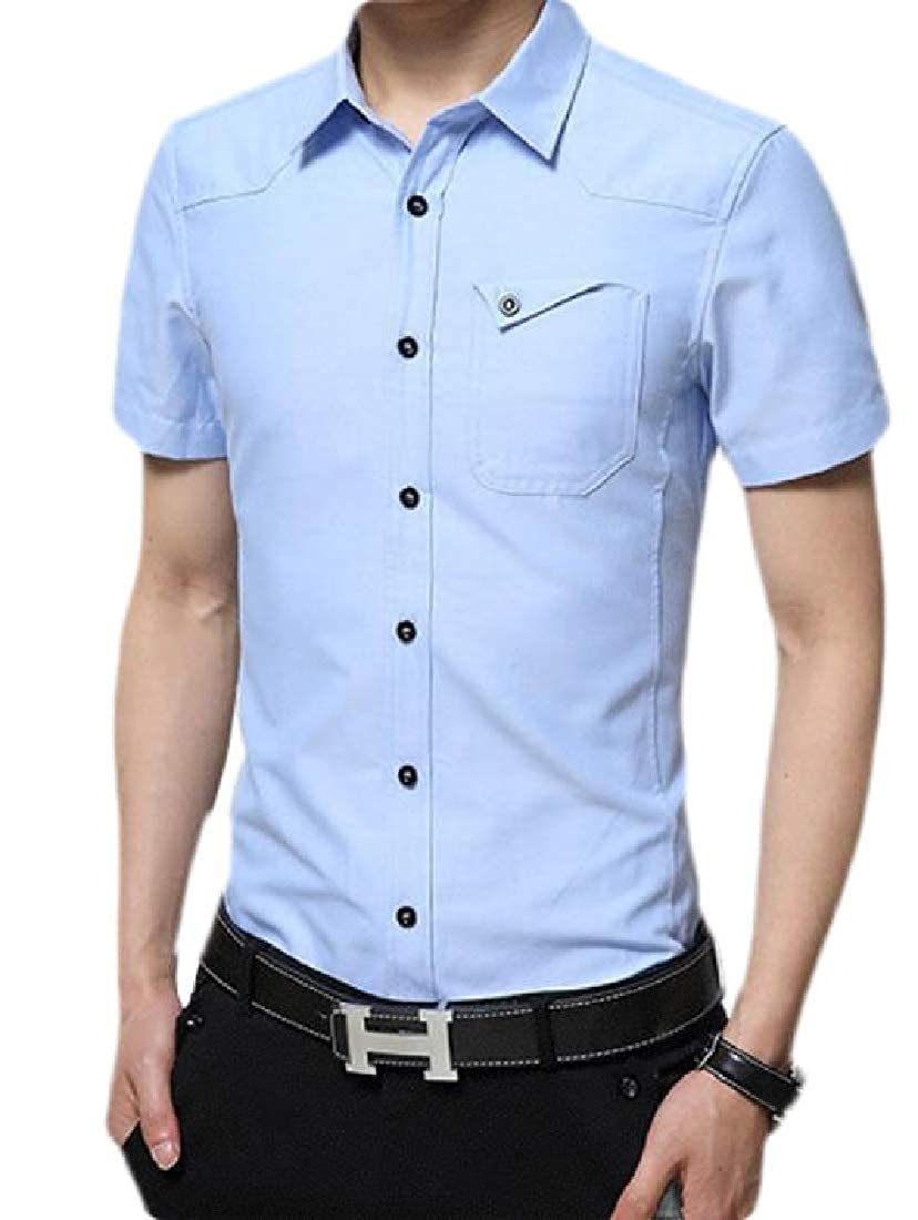 WAWAYA Men Lapel Neck Regular Fit Short-Sleeve Pure Color Pockets Dress Work Shirt