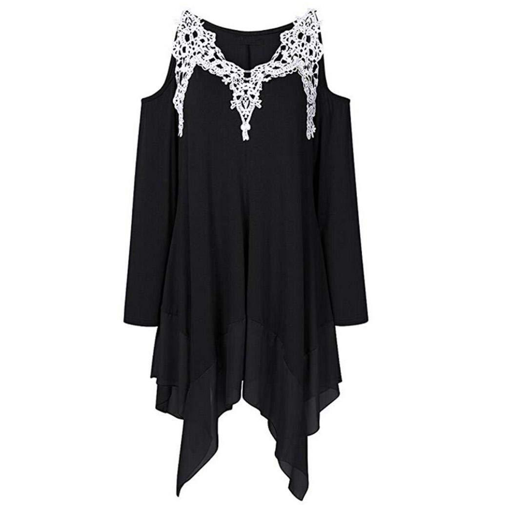 Bafaretk Womens Long Sleeve V-Neck Lace Appliques Blouse Strapless Asymmetrical Hem Tops (S, Black)