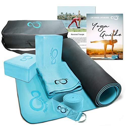 Live Infinitely Complete 6 Piece Yoga Set 6mm Dual Layer Non-Slip TPE Yoga Mat, 2 EVA Foam Blocks, 9