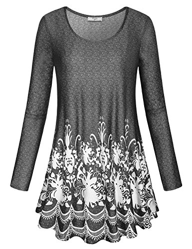 Cestyle Tunic Dress, Womens Fall Clothes Casual Long Sleeve Boat Neck Flower Patterns Flowy A Line Tee Shirt Blouse Tops for Jeans Black XX-Large