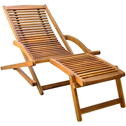 NEW Brown, Outdoor Folding Acacia Wood Chair Lounger Patio Deck Garden Furniture w/ Ottoman (Italian Outdoor Furniture Manufacturers)