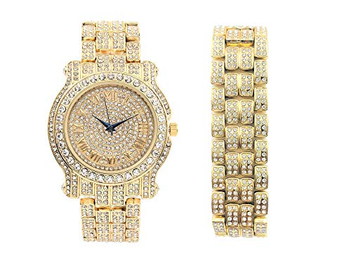- Bling-ed Out Round Luxury Mens Watch w/Bling-ed Out Matching Bracelet - L0504B Gold/Gold
