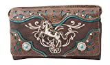 HW Collection Western Horse Equestrian Embroidery Tooling Crossbody Wristlet Clutch Wallet (Brown)