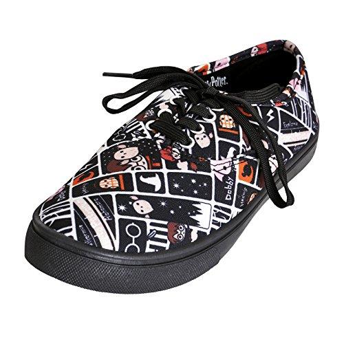 NJ Screenprints Harry Potter Damen Sneaker Schuhe Chibi Style Schwarz Weiß Mehrfarbig