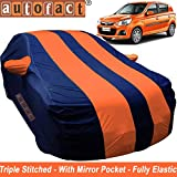 Autofact Car Body Cover for Maruti Alto k10 (Mirror Pocket, Premium Fabric, Triple Stiched, Fully Elastic, Orange/Blue Color)