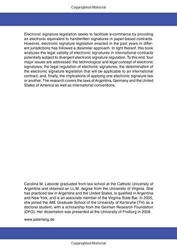 Electronic Signatures in International Contracts (Europäische Hochschulschriften / European University Studies / Publications Universitaires Européennes)