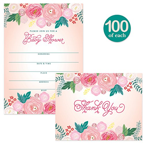 Baby Shower Invitations ( 100 ) & Matching Thank You Notes ( 100 ) Set with Envelopes, Large Event Mom-To-Be Celebration Daughter Girl Female Fill-in Invites & Folded Thank You Cards Best Value Pair by Digibuddha