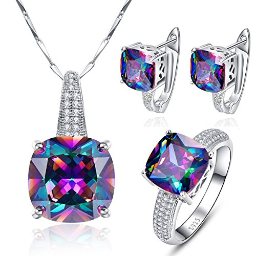 BONLAVIE Women's Vintage Rainbow Mystic Topaz Pendant 925 Sterling Silver Necklace 18