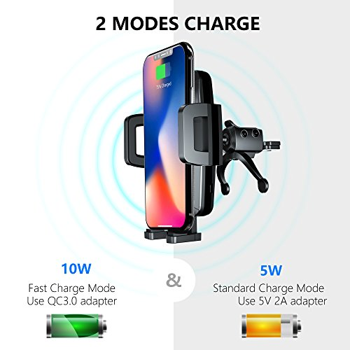 Wireless Car Charger Qi Fast Wireless Charger Air Vent Phone Mount 10W for iPhone X 8/8 Plus Galaxy S9 S9 Plus S8 S7/S7 Edge Note 8 5 Qi Devices etc by ICCKER (Image #2)