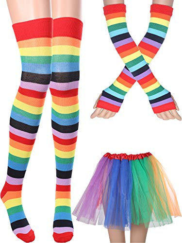 Boao Women's Costume Accessories Set Includes Tutu Skirt Long Socks Gloves for Party Accessory (Color Set 2)]()