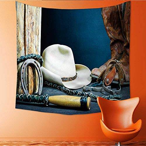 (UHOO2018 Tapestry Table Cover Bedspread Beach Towel Cowboy Boots Horseshoe Spurs and hat on Wood Dorm Decor 47W x 47L Inch)