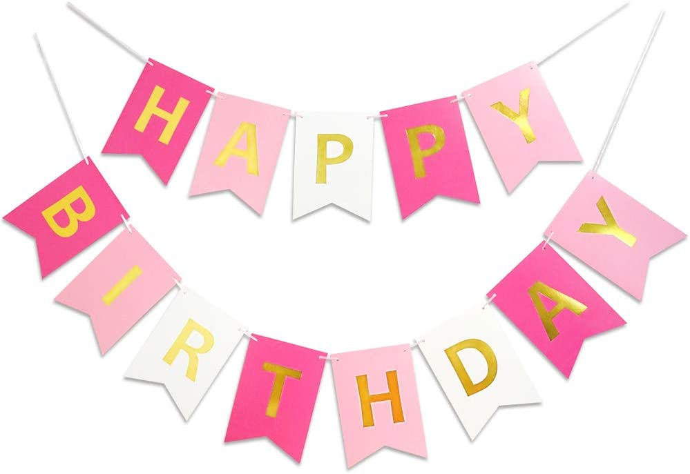 Roseo Pink Happy Birthday Banner Signs Golden Sparkle Funny Birthday Party Supplies for Girls Birthday Party Birthday Decorations Baby Nursery Hanging Decor 13 Pieces