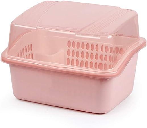 Yuanjiashop Escurreplatos Secaplatos Caja de Almacenamiento de Platos Cocina Drenaje Estante for Platos Pon el tazón Hogar con Tapa Estante de gabinete de plástico Porta Cubiertos (Color : Pink): Amazon.es: Hogar