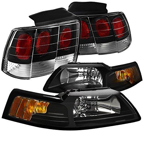 Projector Mustang Ford Headlamps - Spec-D Tuning LT2LH-MST99JM-RS Headlight Tail Light (Black Headlamp Rear Brake Lamp Left Right)
