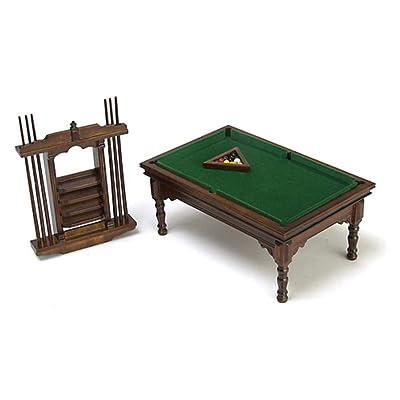Dollhouse Miniature Walnut Pool Table Set: Toys & Games