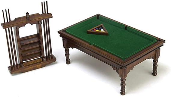 Amazon.es: Dollhouse miniatura nogal mesa de billar Set: Juguetes ...