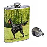 Dog gordon setter Perfection In Style 8oz Stainless Steel Whiskey Flask with Free Funnel