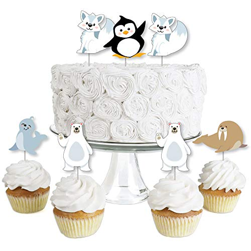 Arctic Polar Animals - Dessert Cupcake Toppers - Winter Baby Shower or Birthday Party Clear Treat Picks - Set of 24 ()