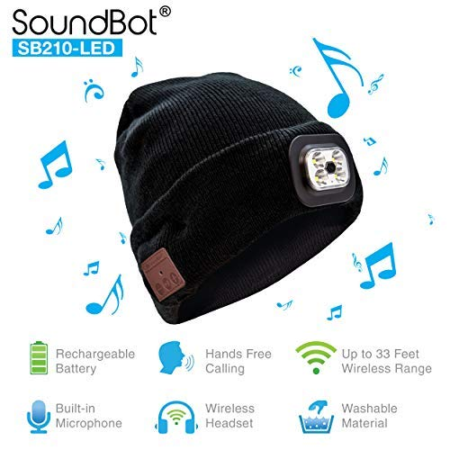 (SoundBot SB210 LED Bluetooth 4.1 Wireless Smart Beanie Headset Musical Knit Headphone Speaker Hat Speakerphone Cap w/ 5Hrs Music Streaming & 7Hrs Hands-Free Talking, Built-in Mic)