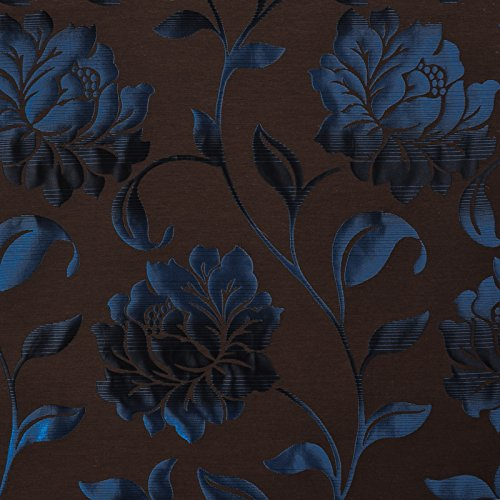 Cocoa Blue Brown Floral Damask Upholstery Fabric by the yard
