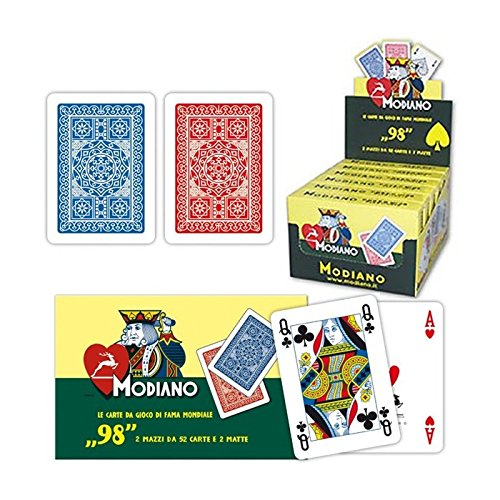 Modiano: Poker N° 98 Plastificate Two Deck of 54 cards Display Box of 7 [ Italian Import ] by Modiano