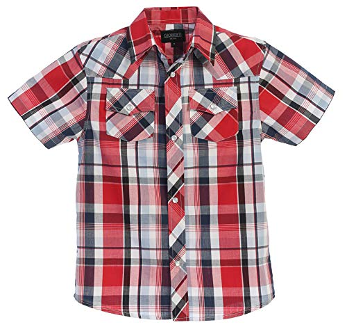 (Gioberti Boys Casual Western Plaid Pearl Snap Short Sleeve Shirt, Red/Navy/White : Size)