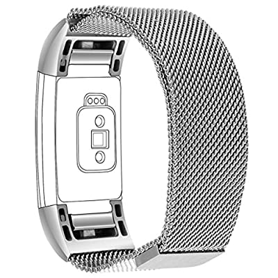 Henoda Milanese Metal Bands Stainless Steel Bracelet for Fitbit Charge 2