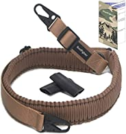 HuntFighter Rifle Sling, 2-Point 550 Paracord Woven Gun Sling with Adjustable Length Strap, Quick Attach Metal