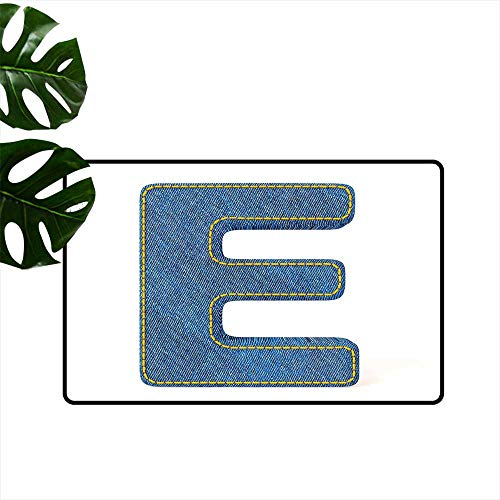 Anzhutwelve Letter E,Christmas Doormat Denim Blue Jeans Themed Symbol E from Alphabet ABC of Fabric Uppercase Letter Roommat W 20