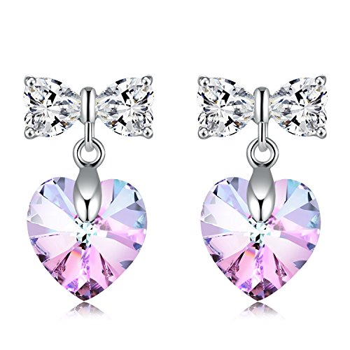 GAEA H - 2017 New Arrival Heart Present Series Original Design Lovely Heart Shaped Crystal Drop Earrings Bow Earring Studs Crystals from Swarovski Gift Wrapped GHJE004 (Purple) (New Arrivals Heart)