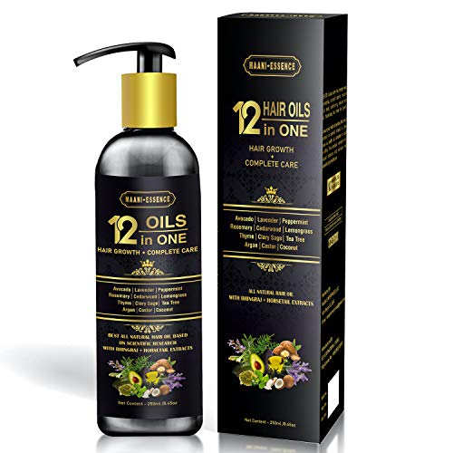 MAANI Essence 12in1 Hair Oil for Hair Growth + Complete Care: All Natural, Scientifically Proven, Premium Grade, Highly Effective