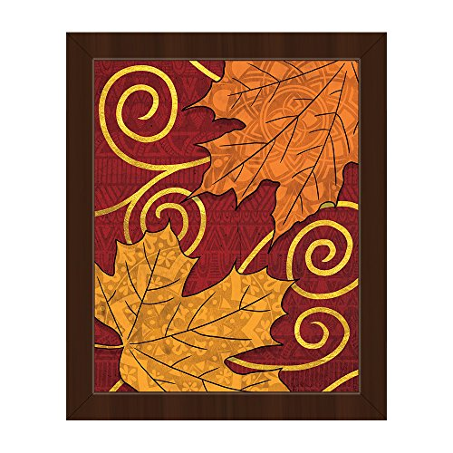 - Autumn Leaves in Orange and Gold with Swirls on Rust Red Batik-pattern Background on Canvas with Espresso Frame