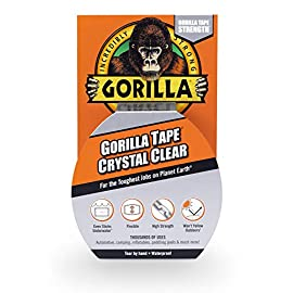 "Gorilla Crystal Clear Duct Tape, 1.88"" x 9 yd, Clear 88 Crystal Clear Gorilla Duct Tape is a heavy-duty, all-purpose tape that is weatherproof, air tight, crystal clear, and can be torn by hand Crystal Clear Gorilla Duct Tape is ideal for thousands of uses and sticks to almost everything-the uses are virtually endless It can be used for patching smooth surfaces, it sticks to rough & uneven surfaces and can even be used to seal and protect surfaces"