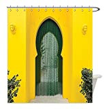 Liguo88 Custom Waterproof Bathroom Shower Curtain Polyester Arabian Decor Morroccan Oriental Style Walkway Old Islamic Building Architecture Stone Carving Photo Decor Green Yellow Decorative bathro
