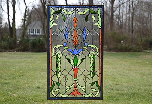 Tiffany Style Jeweled Stained Glass Window Panel. 20.5''W X 34.75''H by Stain Glass Panel