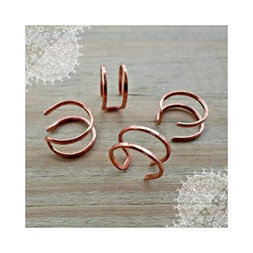 Copper Wire Ear Cuff 2 Pieces Non Pierced Cartilage Earrings