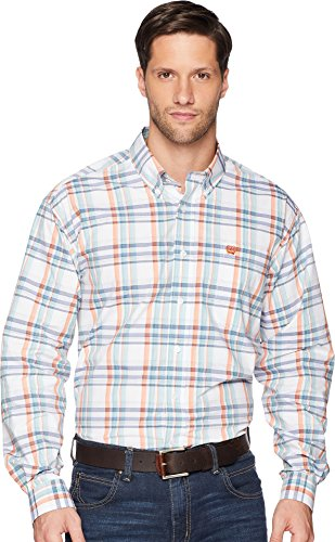 Cinch Men's Classic Fit Long Sleeve Button One Open Pocket Plaid Shirt, White/Orange/Blue, XXL (Cinch Mens)