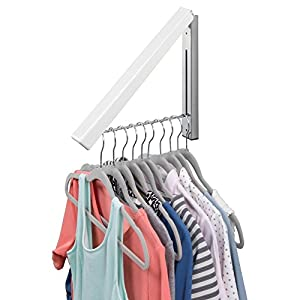 mDesign Compact Slim Design Home Storage Collapsible Wall Mount Clothes Hanger and Drying Rack for Laundry Room - hang clothing, coats, robes, dry cleaning, more - White