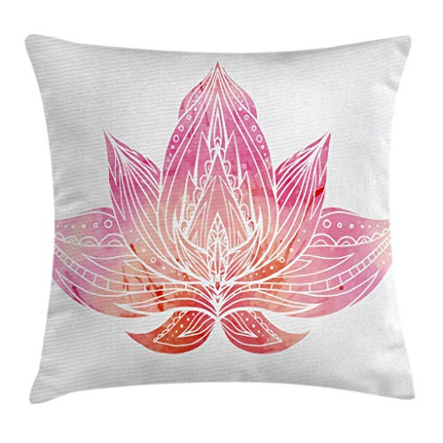 Lotus Cushion Cover - Ambesonne Lotus Throw Pillow Cushion Cover by, Pink Lotus Flower with Ornaments on White Background Boho Style Artwork, Decorative Square Accent Pillow Case, 16 X 16 Inches, Light Pink and White