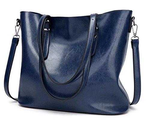 HopeEye mujer Tendencias de la moda Cuero De La Pu Bolso de mujer(dwpj07-3-Grey) 8-azul