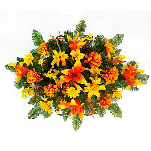 Designs by Ellis Fall Yellow & Orange Florals Cemetery Headstone - Fall Floral Arrangement