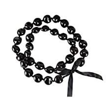 Barbra Collection Hawaiian Lei Necklace of Kukui Nuts (Black)