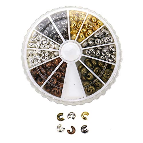 WSSROGY About 100Pcs Assortment Brass Crimp Beads Covers Cord End Caps 5x4mm for Jewelry Making (Antique Bronze, Red Copper, Golden, Silver, Platinum, Gunmetal)
